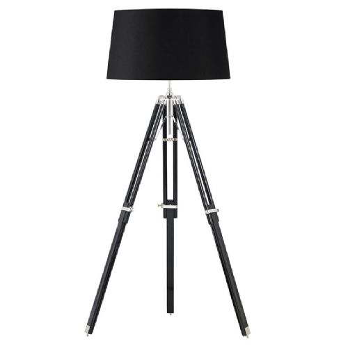 Dark wood & bright nickel plate floorlamp BXEH-TRIPOD-FLBL -17by Endon (Class 2 Double Insulated)